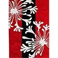 Hand-tufted Hanako Bright Red Wool Rug (5' x 8')