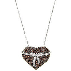 Dolce Giavonna Sterling Silver Garnet and Diamond Heart/ Bow Necklace