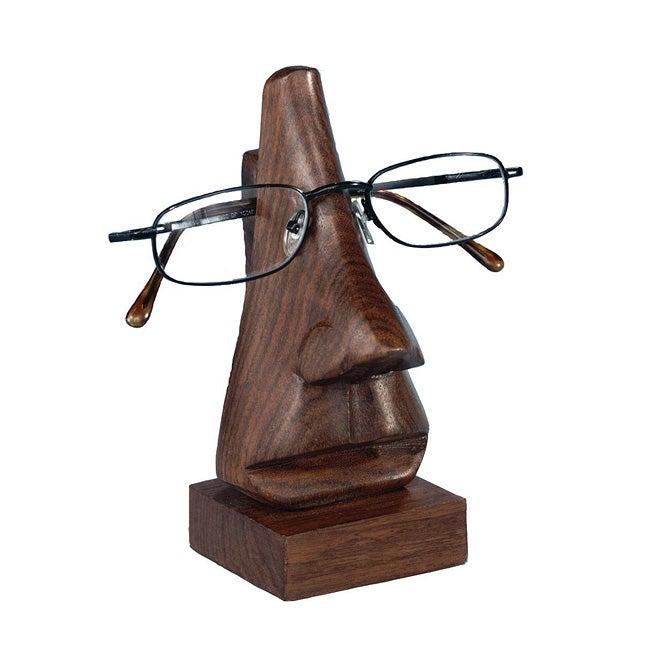 ASHA Handicrafts Hand-carved 6-in. Wooden Face Eyeglass Holder (India)