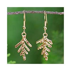 24k Goldplated Natural Leaf 'Cypress Honor' Earrings (Thailand)