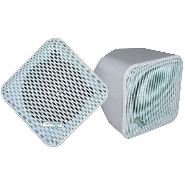 Pyle 5-inch White Weatherproof Full-range 2-way Enclosed Speaker