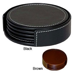 Dacasso Round Rustic Leather Coasters (Set of 4)
