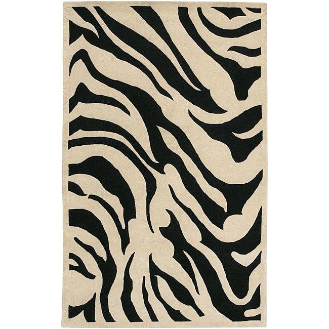 Hand-tufted Black/White Zebra Animal Print New Zealand Wool Rug (9' x 13')