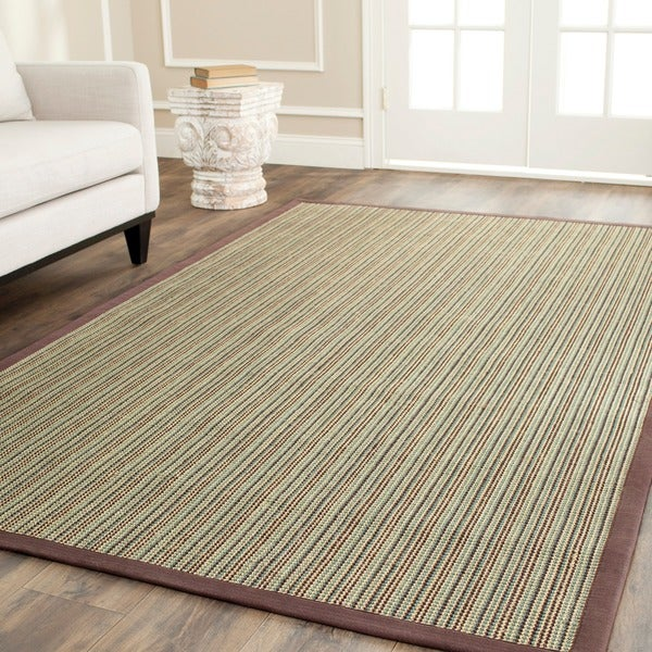 Safavieh Hand-woven Stripes Multicolor/ Purple Fine Sisal Rug (9' x 12')