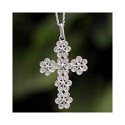 Sterling Silver 'Filigree Flowers' Cross Necklace (Peru)