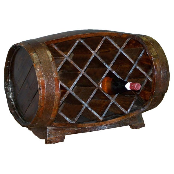 Wood Stained Barrow Wine Rack