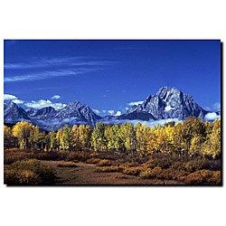 Kurt Shaffer 'Autumn Tetons' Large Gallery-wrapped Canvas Art