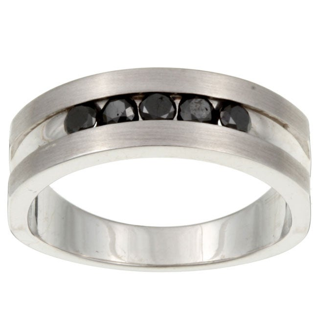 Sterling Silver Men's 1/2ct TDW Black Diamond Ring