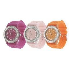 Geneva Women's Cubic Zirconia Accent Silicon Watch