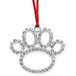 Austrian Crystal Beautiful Dog Paw Decorative Ornament
