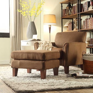 TRIBECCA HOME Uptown Mocha Microfiber Accent Chair and Ottoman
