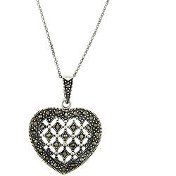 Dolce Giavonna Sterling Silver Marcasite Heart Necklace