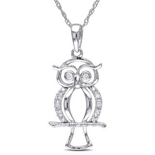 Haylee Jewels 10k White Gold Diamond Accent Owl Necklace (H-I, I2-I3)