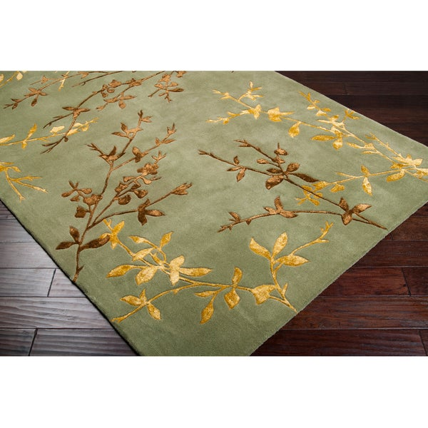 Hand-tufted Masquerade Light Green Floral Wool Blend Rug (5' x 8')
