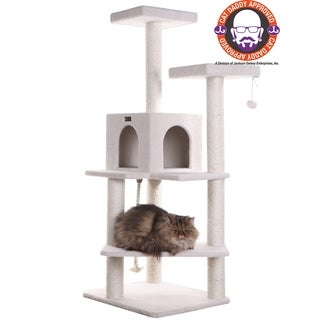 White-wood Armarkat 57-inch Fleece-covered Sturdy Cat Treehouse