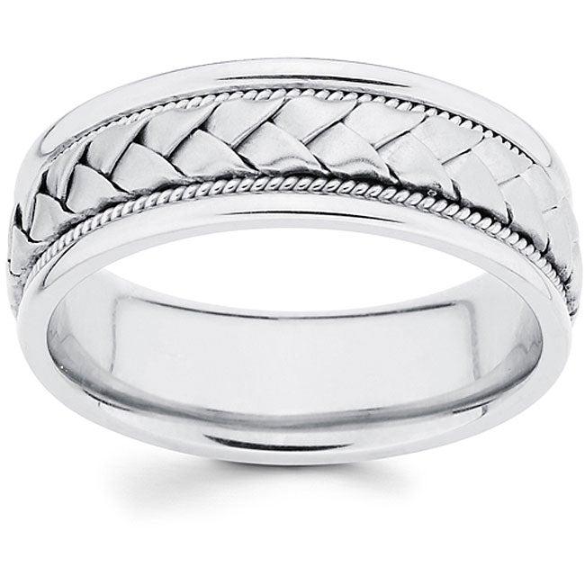 14k White Gold Men's Hand-braided Comfort-fit Wedding Band