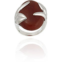 Glitzy Rocks Sterling Silver Oval Red Jade Ring