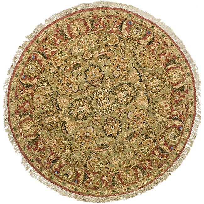 Oushak Hand-knotted Treasures Light Green/ Rose Wool Rug (4' Round)