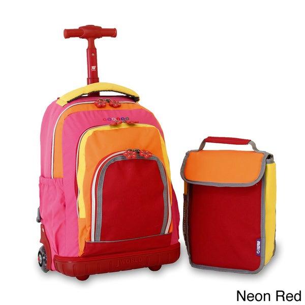 J World 'Lollipop' 16-inch Kid's Rolling Backpack and Lunchbag