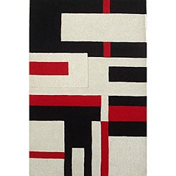 Hand-tufted White Wool Cool Rug (5' x 8')