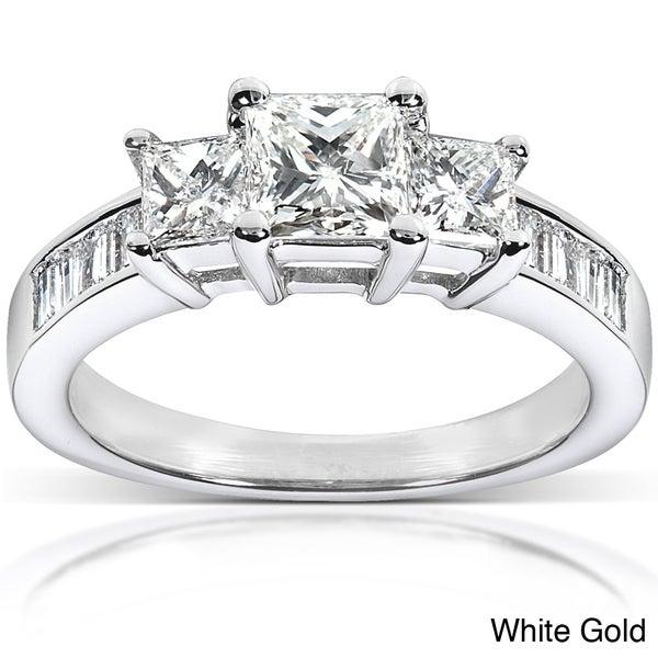 Annello 14k Gold 1 1/2ct TDW Princess Diamond Engagement Ring (H-I, I1-I2)