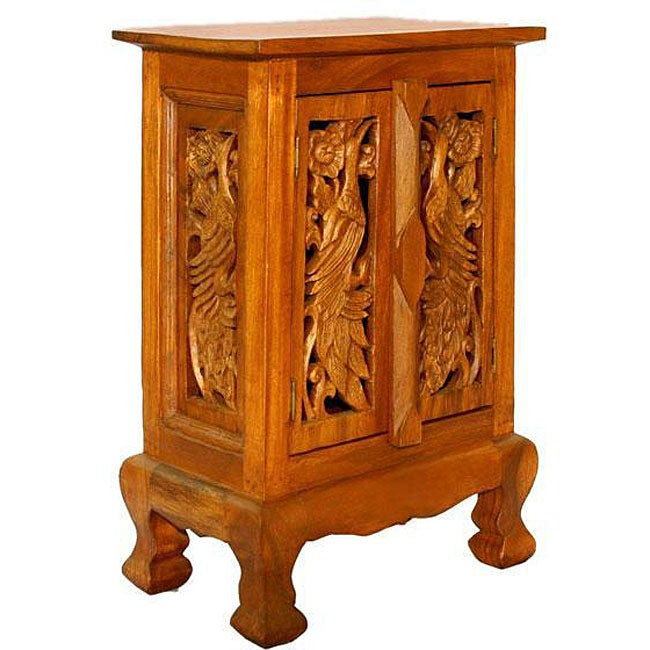 Acacia Wood Handmade Peacock Design Nightstand Cabinet Thailand Overstock Shopping Top