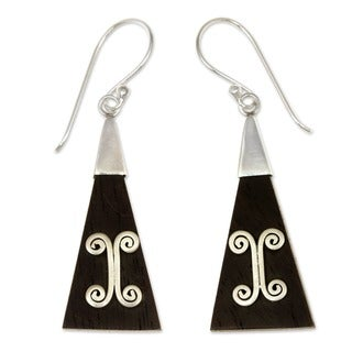 Sterling Silver and Wood 'Triangle' Dangle Earrings (Indonesia)