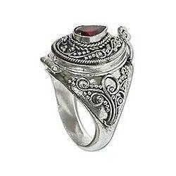 Garnet Solitaire Locket 'Secret Love' Ring (Indonesia)