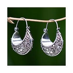 Sterling Silver 'Paradise' Hoop Earrings (Indonesia)