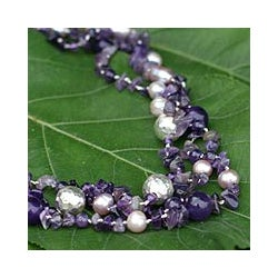 Sterling Silver Pearl/ Amethyst 'Glorious' Necklace (9 mm) (Thailand)