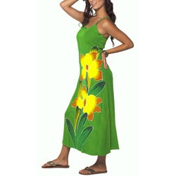 Hand-painted Orchid-print Long Green Dress (Indonesia)