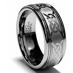 Men's Tungsten Carbide Laser-etched Celtic Grooved Band (8 mm)