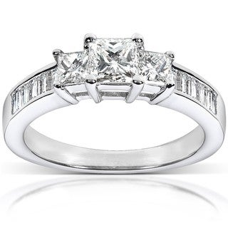 Annello 14k White Gold 1ct TDW Princess Diamond Ring (H-I, I1-I2)