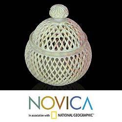 'Lattice Lace' Large Soapstone Jar Sculpture (India)