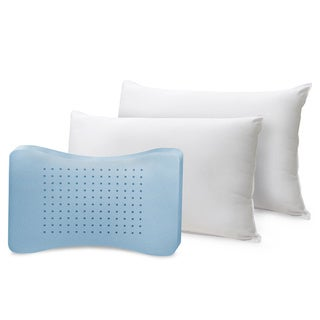 Comfort Curve Cotton Cover Foam Center Memory Loft Pillows (Set of 2)