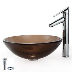 Kraus Bathroom Combo Set Clear Brown Glass Vessel Sink/ Decus Faucet