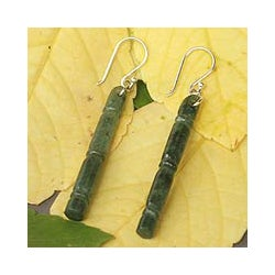 Silver 'Bamboo Path to Enlightenment' Jade Earrings (Thailand)