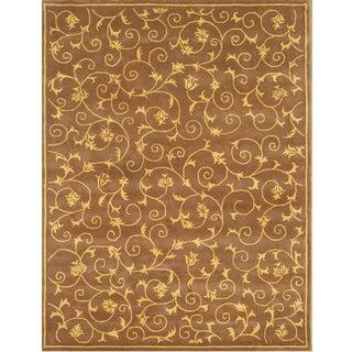 Alliyah Handmade Brown New Zealand Blend Wool Rug 8x10