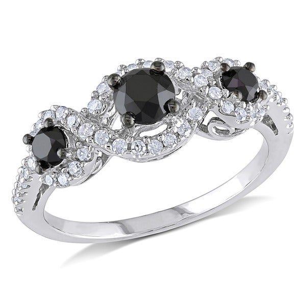 1 CT Black and White Diamond TW 3 Stone Ring 10k White Gold GH I2;I3 Black Rhodium Plated