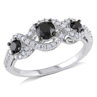 Miadora 10k Gold 1ct TDW Black and White Diamond Halo Ring (H-I, I2-I3)