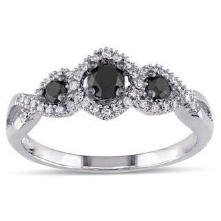 1/2 CT Black and White Diamond TW 3 Stone Ring 10k White Gold GH I2;I3 Black Rhodium Plated