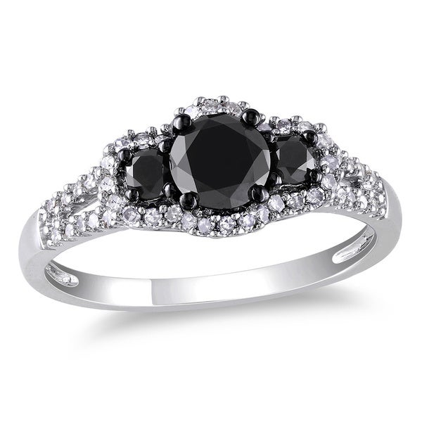 Miadora 10k Gold 1ct TDW Black-and-white Round Diamond Halo Ring (H-I, I2-I3)