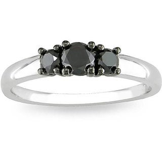 Haylee Jewels Sterling Silver 1/2ct TDW Three-Stone Black Diamond Ring