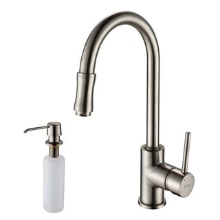Kraus Sat-in Nickel Pull-out Sprayer Kitchen Faucet and Dispenser