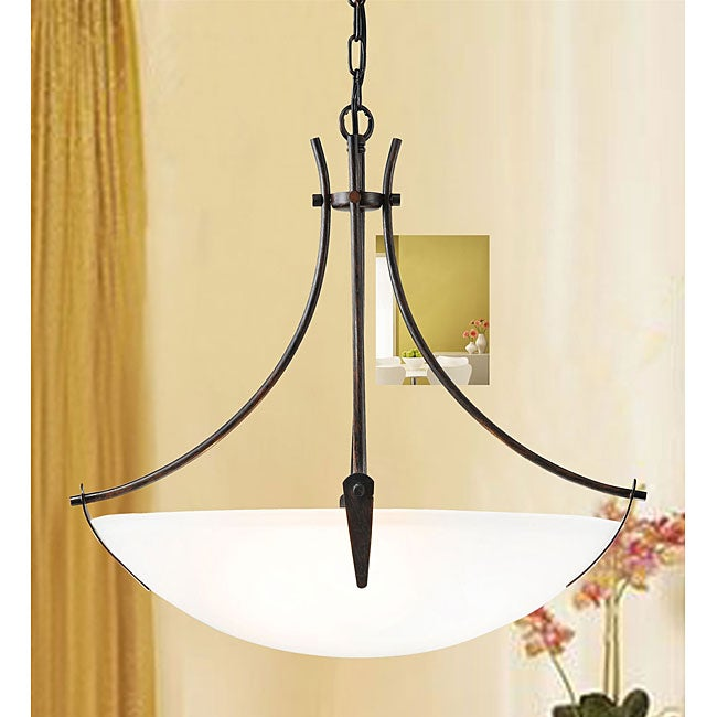 Contemporary 3-light White Shade Chandelier