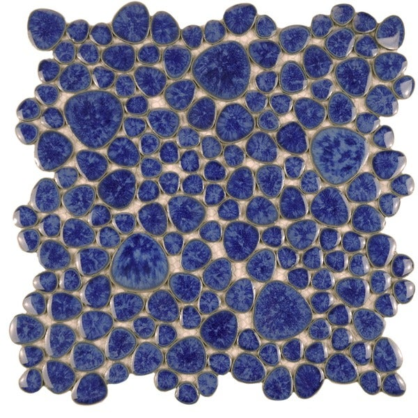 SomerTile 11x11-in Quarry Blue Cloud Porcelain Mosaic Tile (Pack of 10)