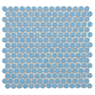 SomerTile 12.25x12-in Penny 3/4-in Lite Blue Porcelain Mosaic Tile (Pack of 10)