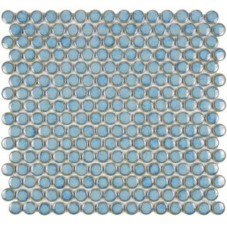 SomerTile 12.25x12-in Penny 3/4-in Marine Porcelain Mosaic Tile (Pack of 10)
