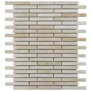 SomerTile 10.75x12.75-in Samoan Brick .5x3.5-in Perla Bone Porcelain Mosaic (Pack of 10)