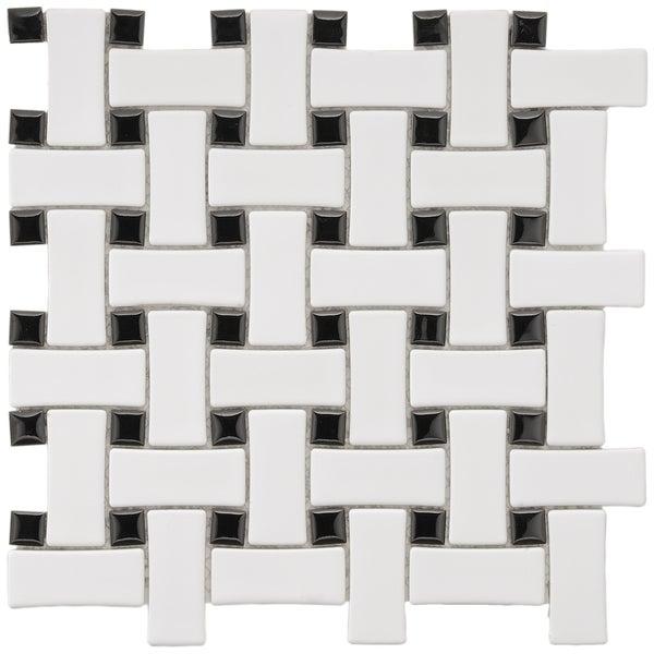 SomerTile 9.75x9.75-in Basket Weave 1x2.5-in White/Black Porcelain Mosaic Tile (Pack of 10)